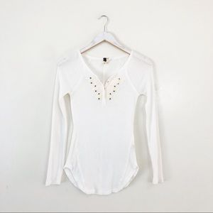 Free People White Waffleknit Fitted Long Sleeve
